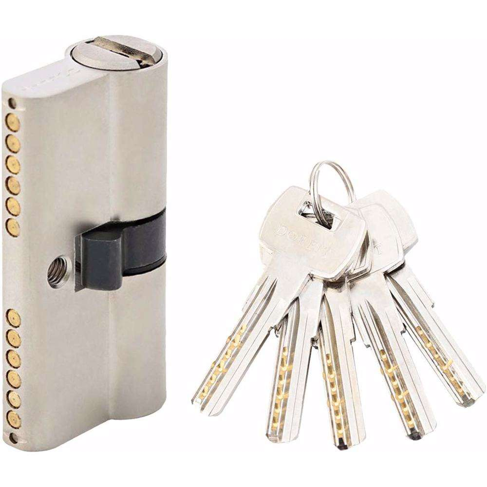 Double Cylinder Door Lock With Dimple/Computer Key 6 Pin Silver 60 mm