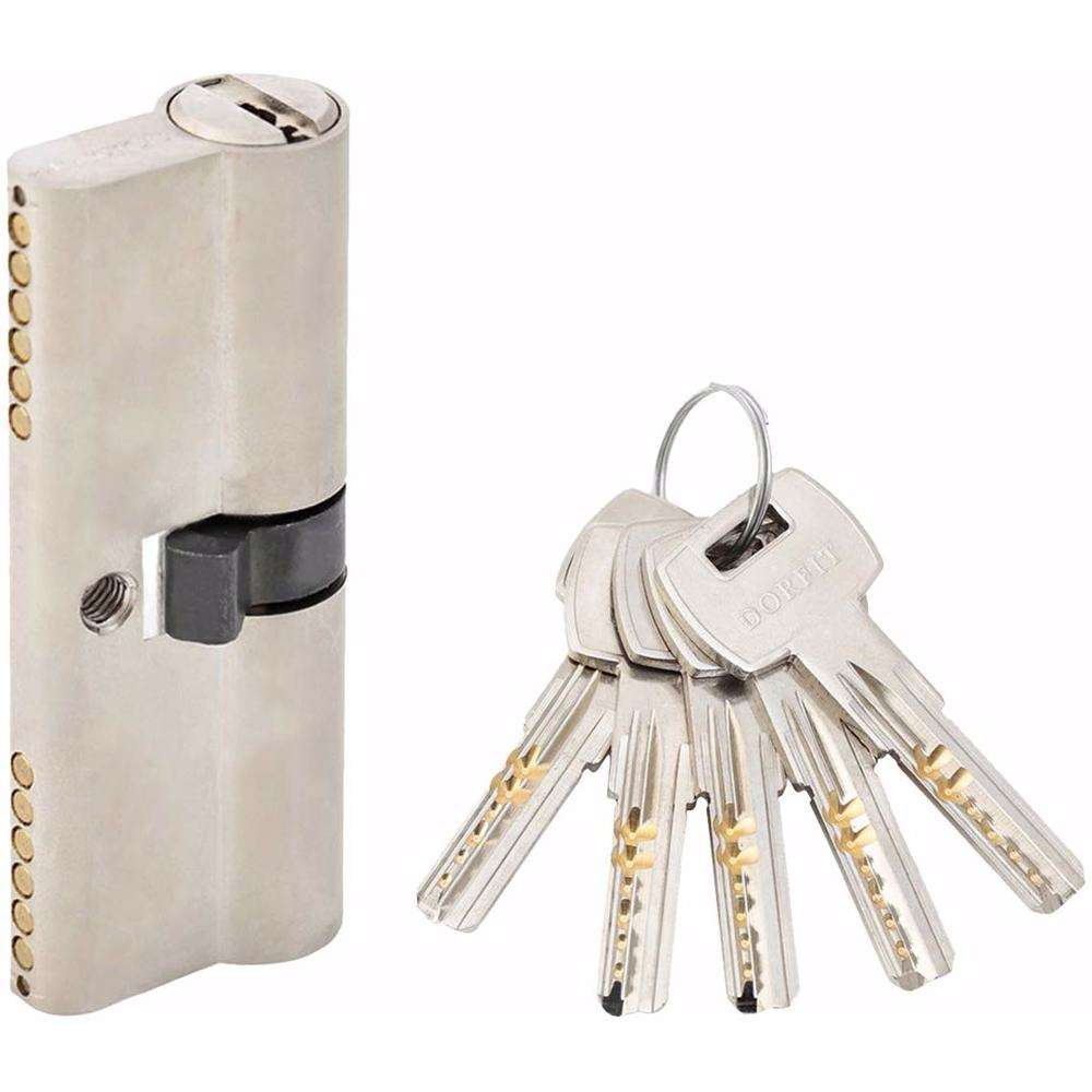 Double Cylinder Door Lock With Dimple/Computerized Key 6 Pin Silver 80 mm