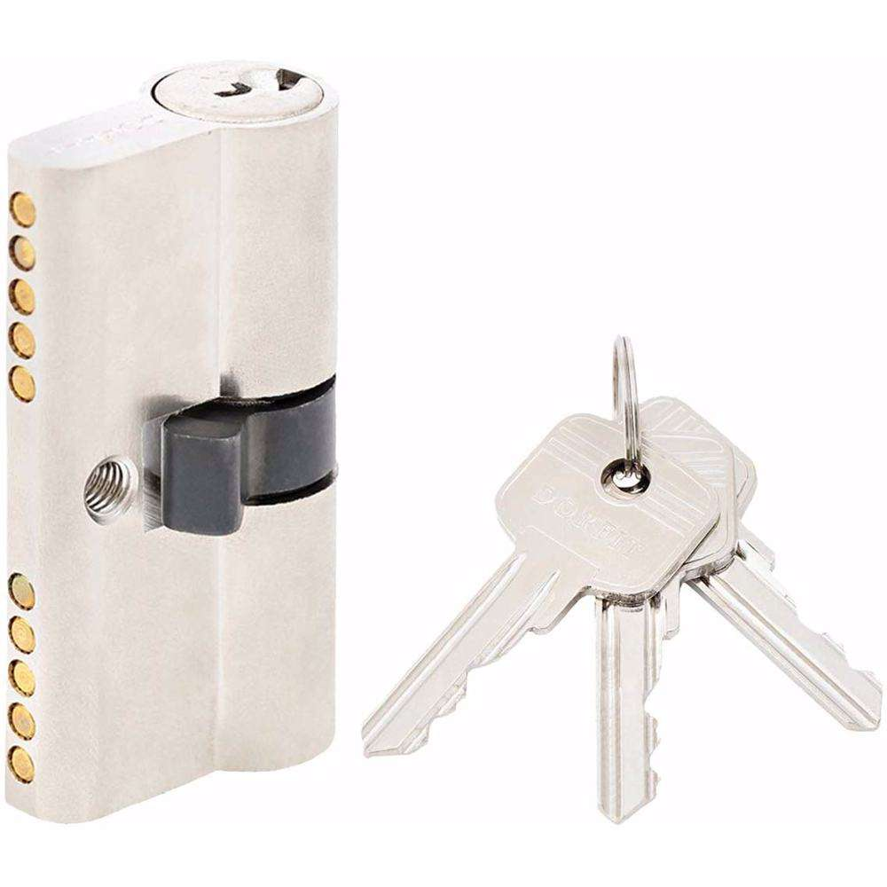 Double Cylinder Lock with Key for Doors 5 Pin Silver 60 mm