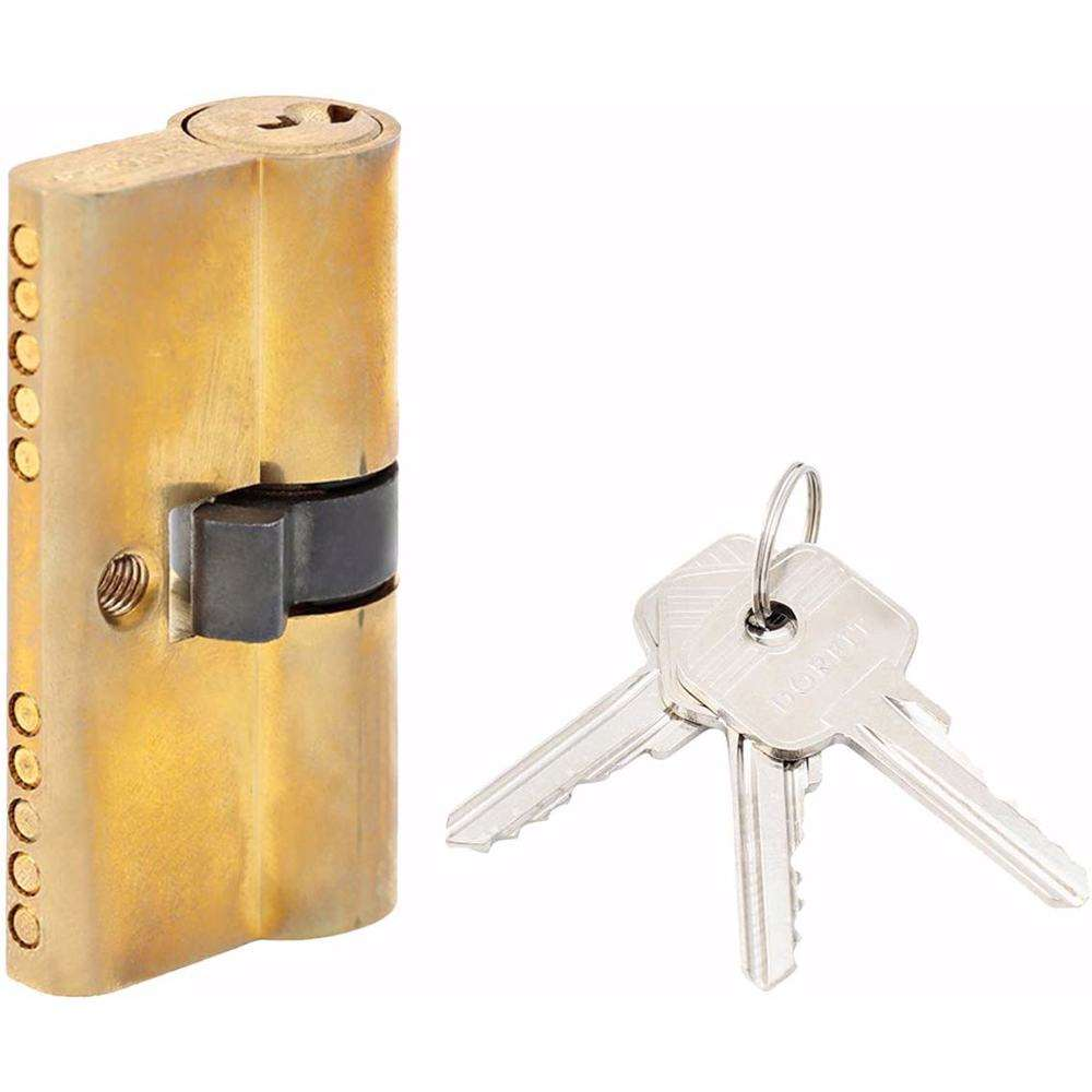 Double Cylinder Lock with Key for Doors 5 Pin Gold 60 mm