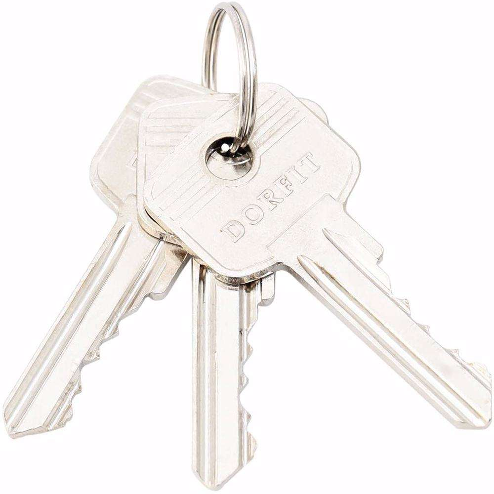 Double Cylinder Lock with Key for Doors 5 Pin Silver 80 mm