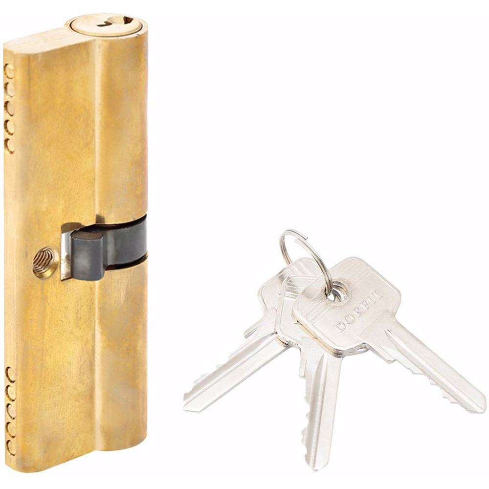 Double Cylinder Lock with Key for Doors 5 Pin Gold 90 mm