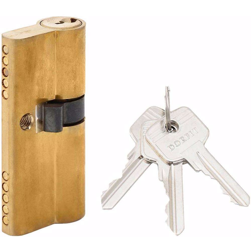 Unequal Double Cylinder Door Lock with Key 5 Pin Gold 30/40 mm
