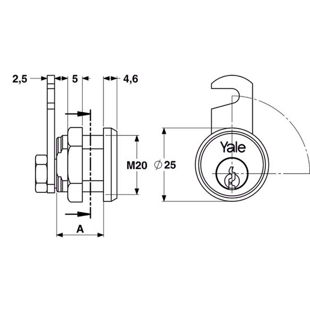 Yale 890 Universal Cylinder for metal cabinets 25mm Nickel Plated 90° rotation