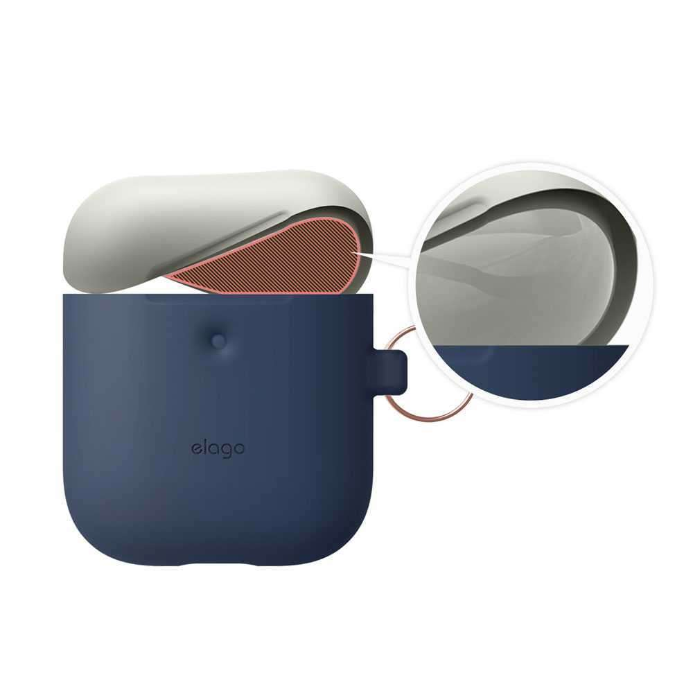 Elago Duo Hang Case for 2nd Generation Airpods - Body-Jean Indigo / Top-Classic White,Yellow