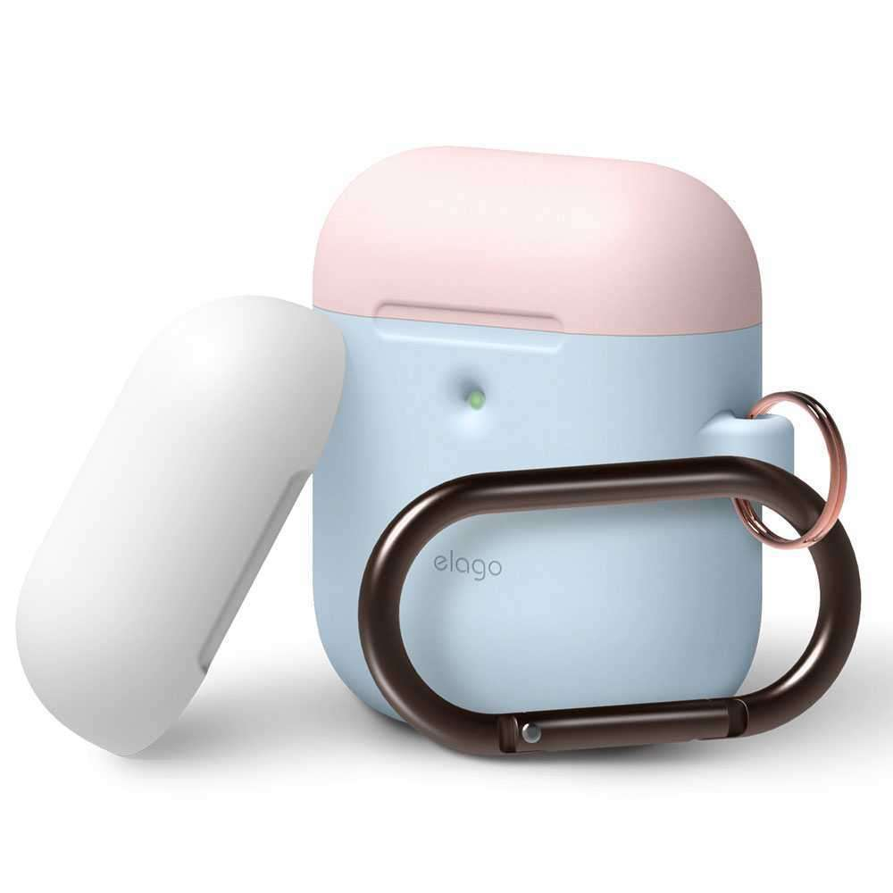 Elago Duo Hang Case for 2nd Generation Airpods - Body-Pastel Blue / Top-Pink,White