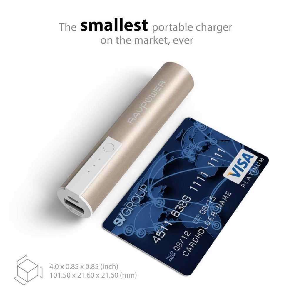 RAVPower 3350mAh Luster Portable Charger - Gold