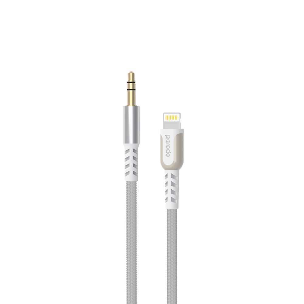 Porodo Metal Braided Lightning to AUX Cable 1.2M - White