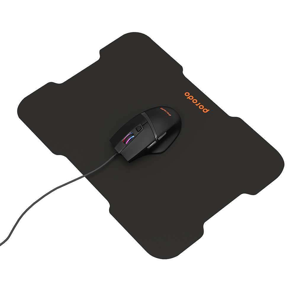 Porodo 6D Wired Gaming Mouse with Mousepad - Black