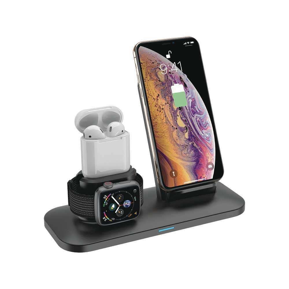 Porodo 3 in 1 Charging Station 7.5W/10W for iPhone / Apple Watch / Airpods - Black