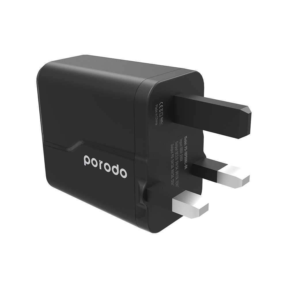 Porodo Dual Port Wall Charger PD 18W + QC3.0 UK with Braided Type-C to Lightning PD Cable 1.2m - Black