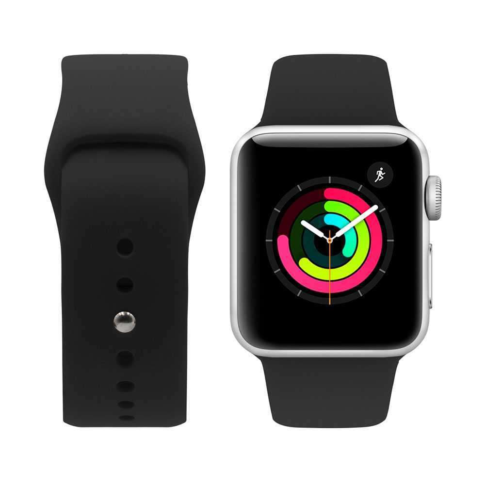 iGuard by Porodo Silicone Watch Band for Apple Watch 44mm / 42mm - Black