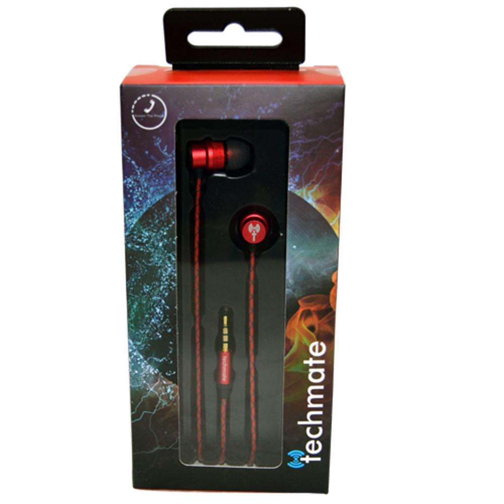 TechMate DT EM290 RD Metal EarPhone with Mic - Red