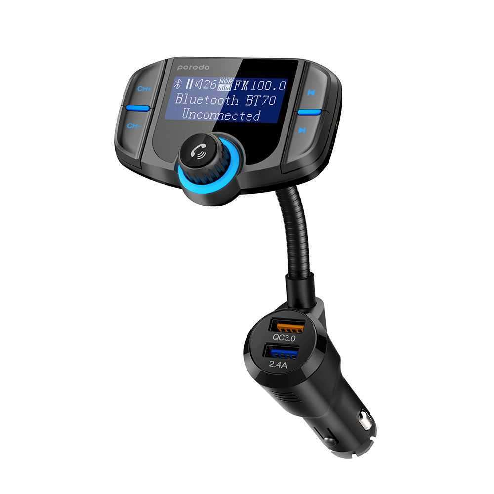 Porodo Wireless Hands-Free Car Kit With Built-In FM Transmitter Display Panel 2.4A QC3.0 - Black