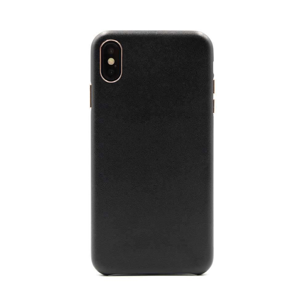 Porodo Classic Leather Back Case For iPhone XS - Black