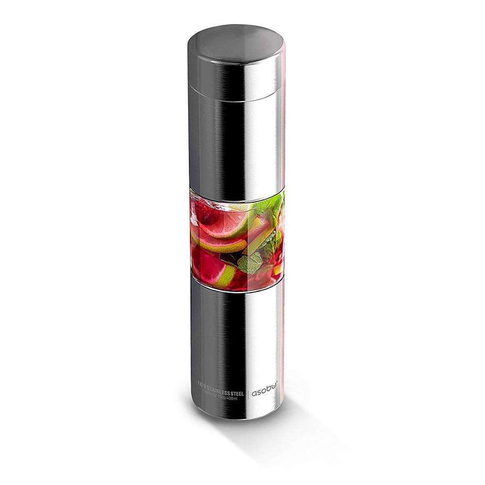 ASOBU Flavor U See a Stainless Steel Fruit Infuser Slim and Classy Water Bottle Silver