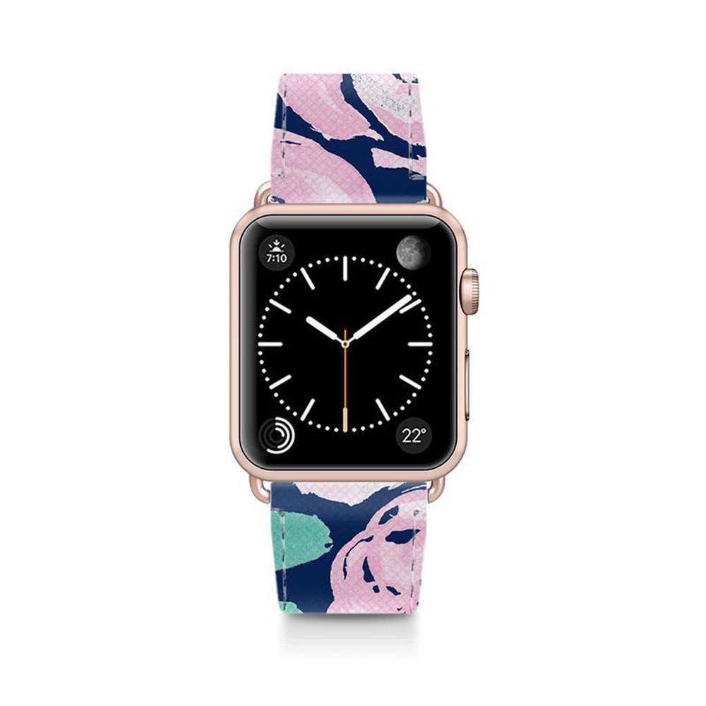 CASETIFY Apple Watch Band Leather All Series 42mm Aluminum Gold Frame Pink Peonies