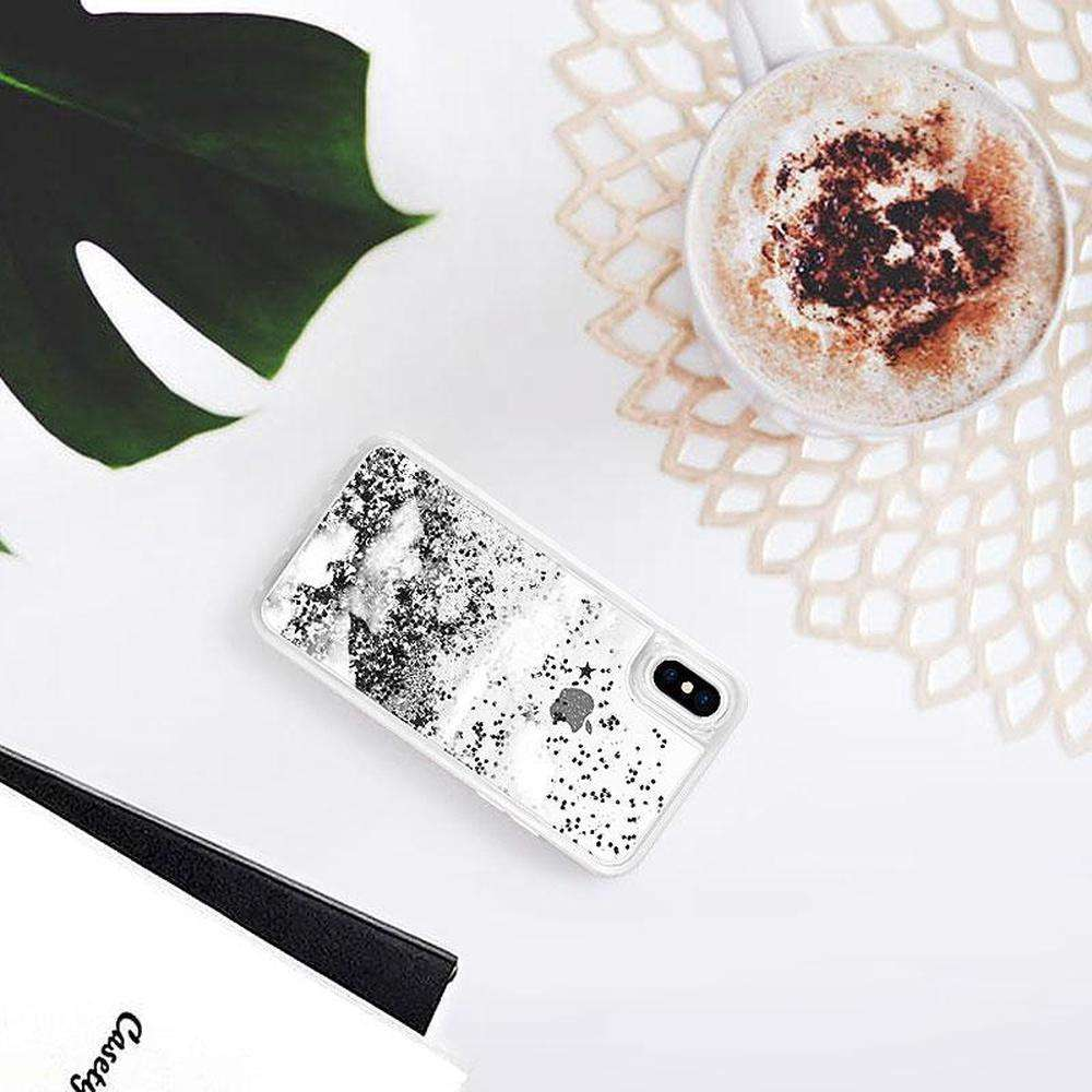 CASETIFY Glitter Case Silver Clouds for iPhone XS Max