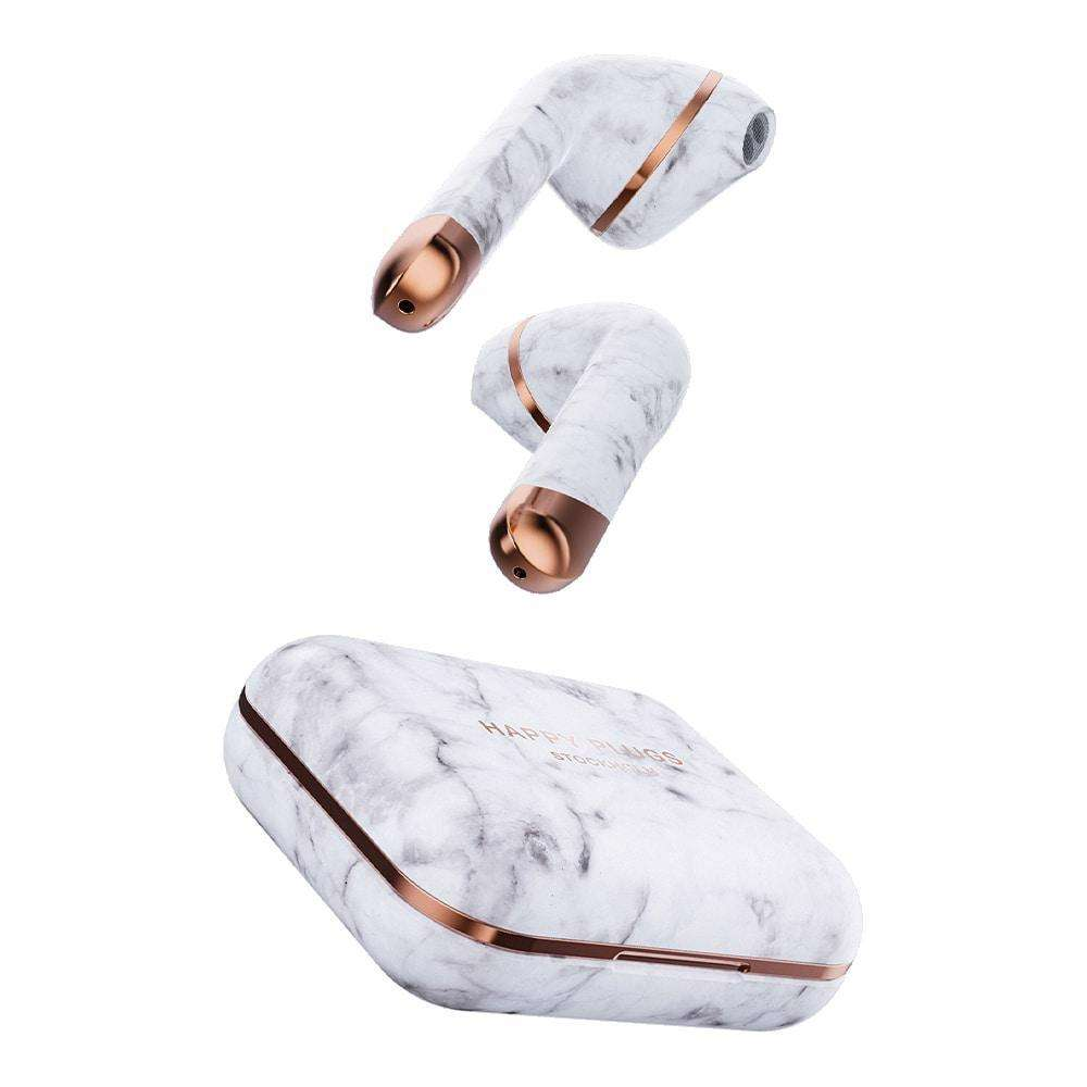 HAPPY PLUGS Air 1 True Wireless Headphones Limited Edition - White Marble
