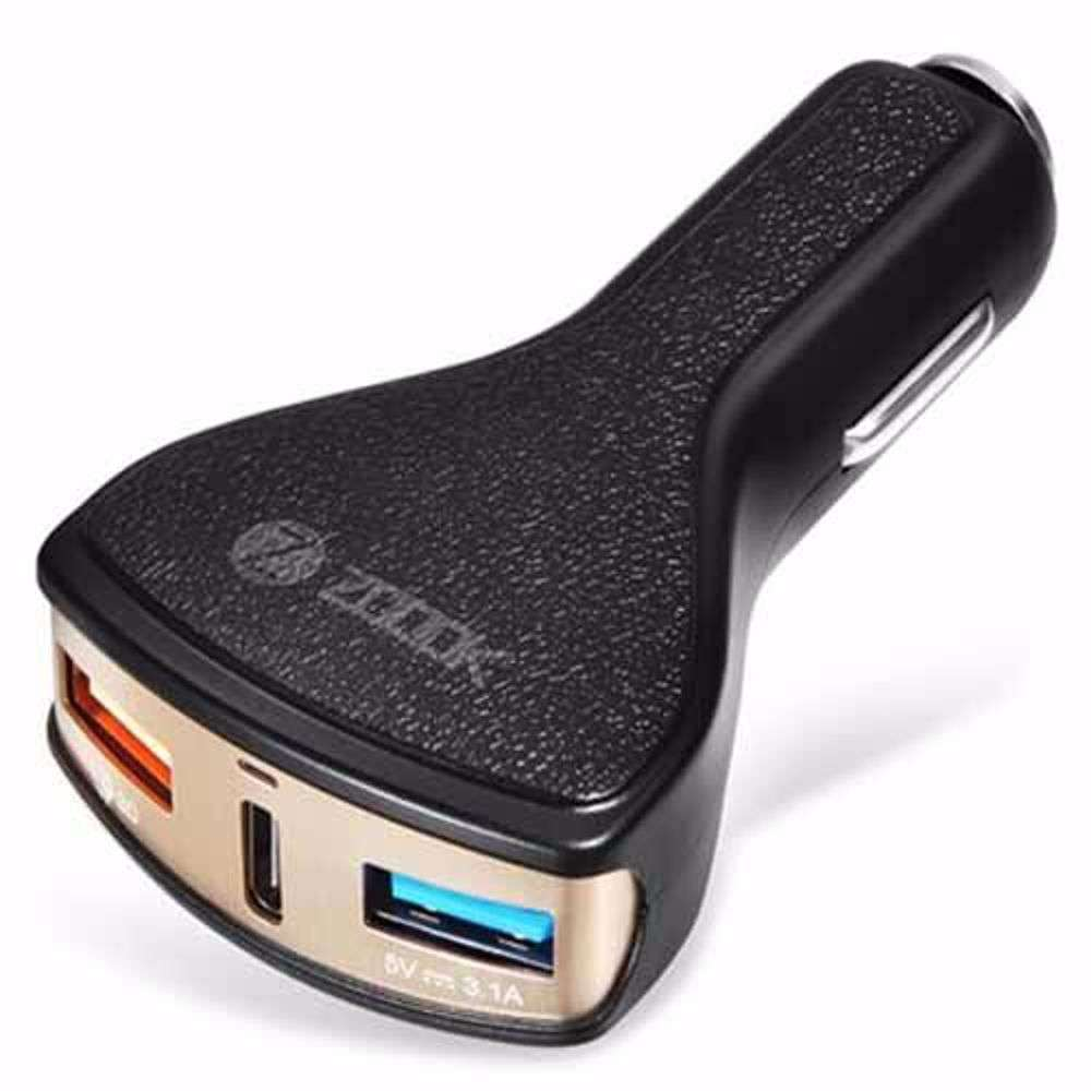 Zoook QC 3.0 + 5V 3.1A + Type C USB Car Charger ; Total 6A Output; Qualcomm Quick Charge 3.0 - Black with Gold