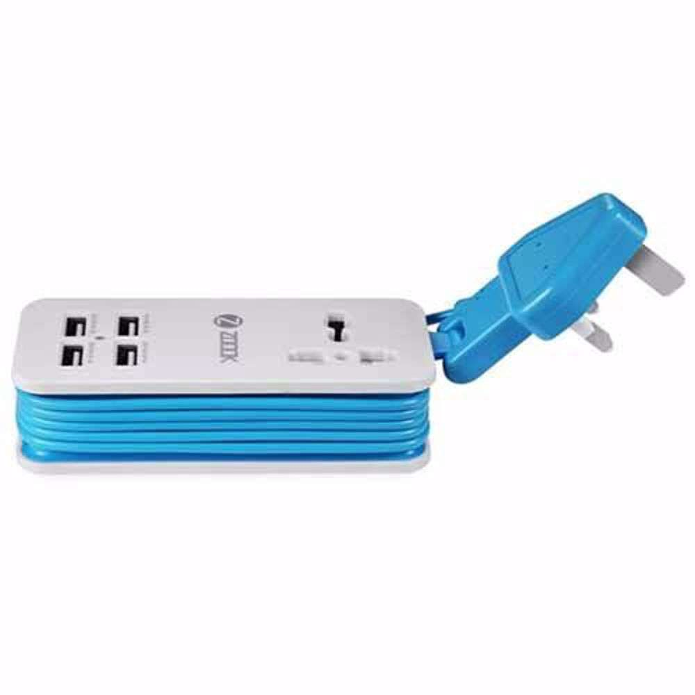 Zoook Portable Charging Station, 4 port USB & universal power socket (5.1A Output) UK version - White with Blue
