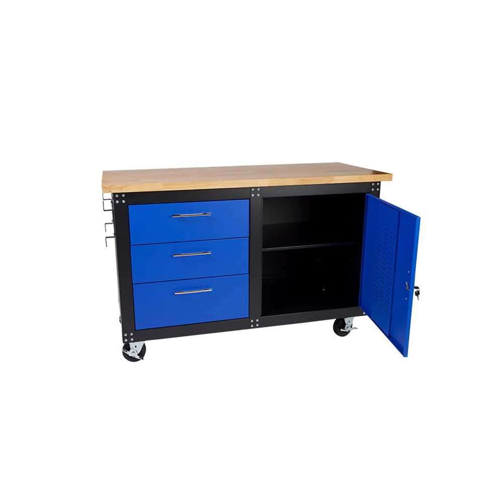 GAZELLE - G2606 60 Inch Mobile Workbench with Solid Wood Top