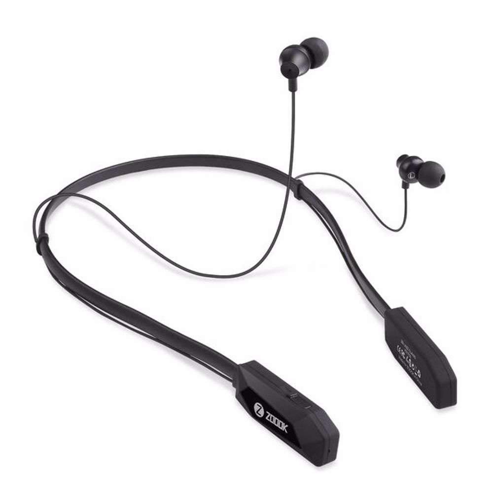 Zoook Wireless Bluetooth Neckband style earphones with 20 hour playing time & magnetic latch design - Black