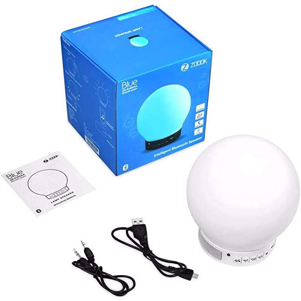 Zoook Color Changing Lamp Bluetooth Speaker, Tap on the speaker to change colors, with FM Radio,USB Disk and TF Card Support - White