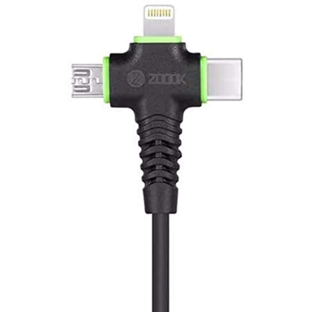 Zoook Rapid Charging 3 in1 Charging Cable Made of ultra flexible material,prevents from breaking connectors ( 1.2Meter) Type C USB + Micro USB + Lightning - Black