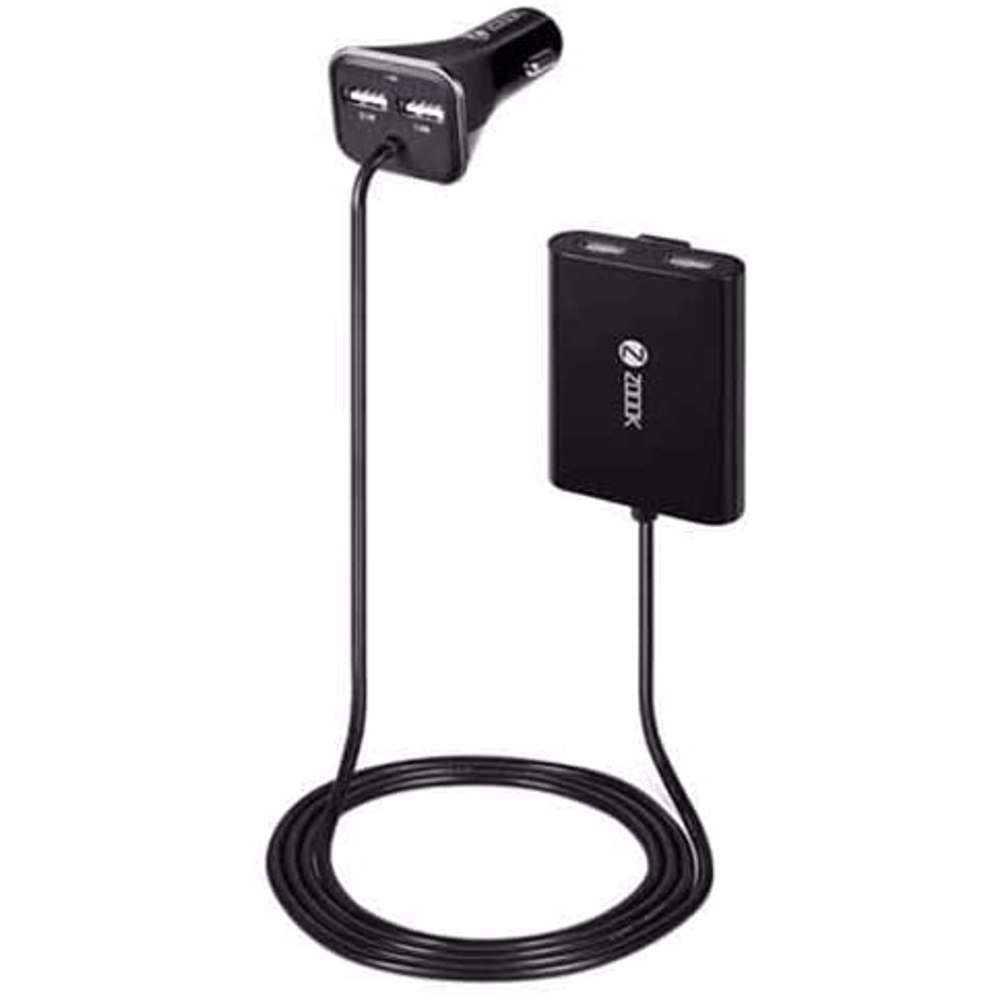 Zoook 4 port car Charger with 2 port extended hub for rear seat charging 7.3A - Black