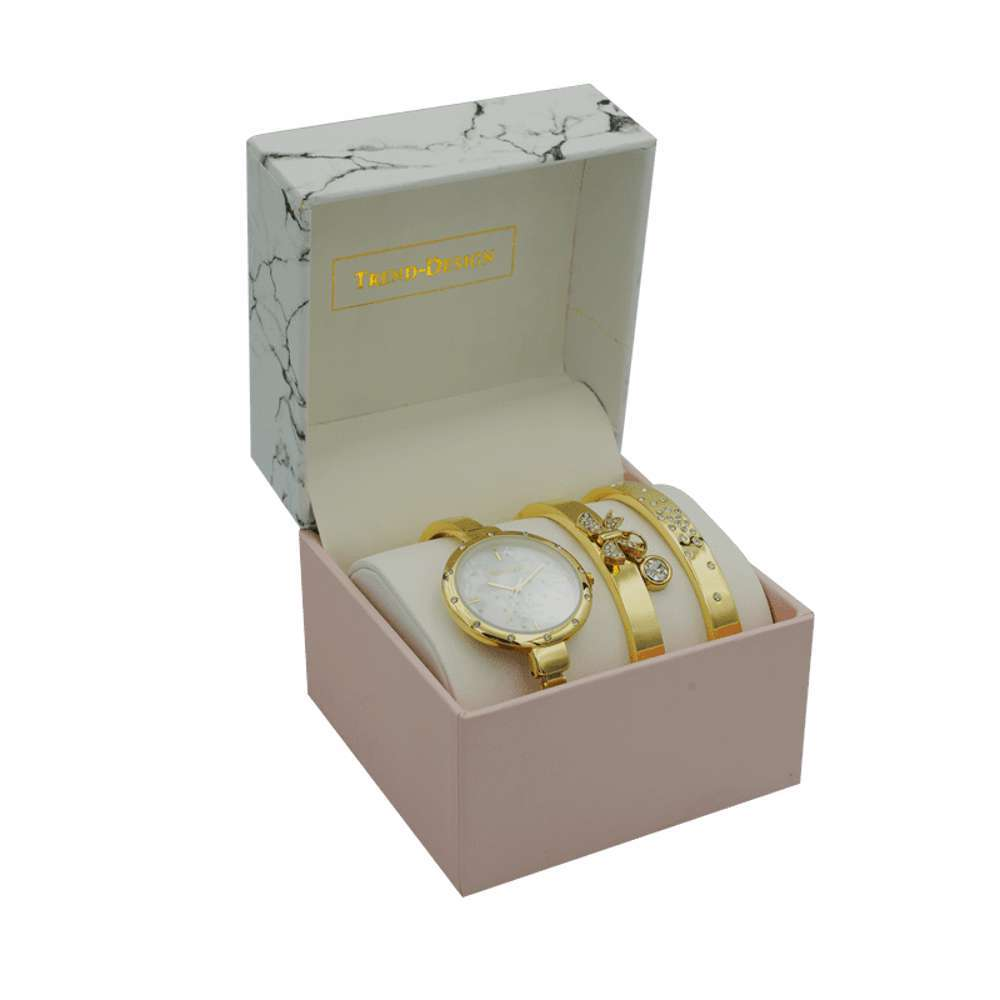Trend Setter Women''s Gold Watch Set - Metal Band TD-9216-2