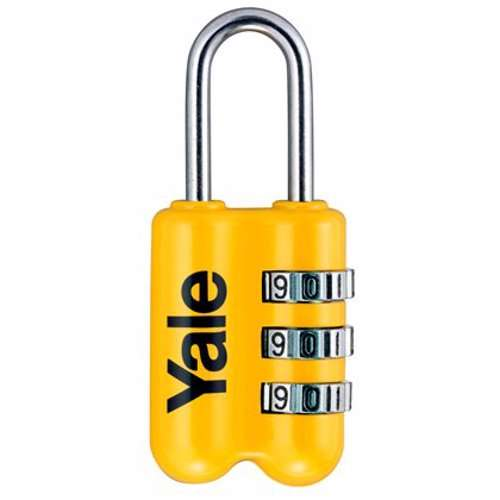 Yale YP2 3-Digit Combination Travel Padlock 23 mm Yellow