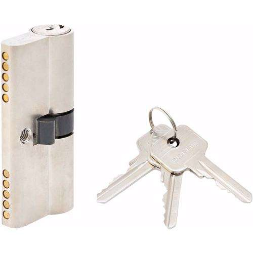 Double Cylinder Lock with Key for Doors 5 Pin Silver 70 mm