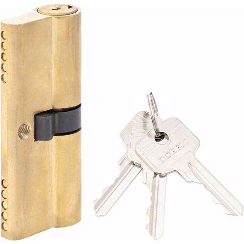 Double Cylinder Lock with Key for Doors 5 Pin Gold 80 mm