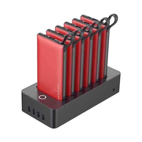 Powerology 6 in 1 Power Station 10000mAh 2.1A with Built-In Cable - Red