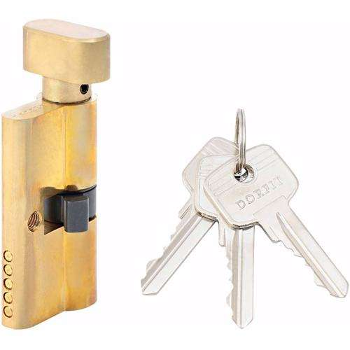 Turn Knob and Key Cylinder Door Lock 5 Pin Gold 60 mm