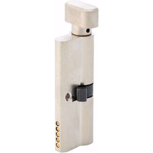 Turn Knob and Key Cylinder Door Lock 5 Pin Silver 80 mm