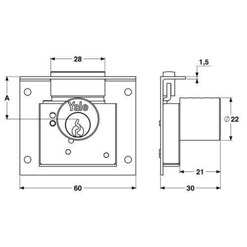 Yale 830 Cabinet Locks for wooden wardrobe and drawers 25mm