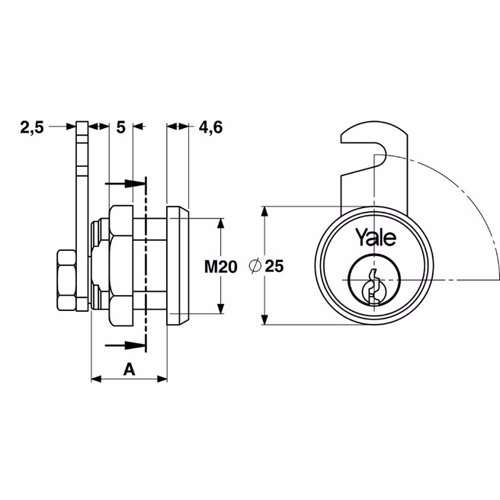 Yale 890 Universal Cylinder for metal cabinets 20mm Satin Brass 90° rotation
