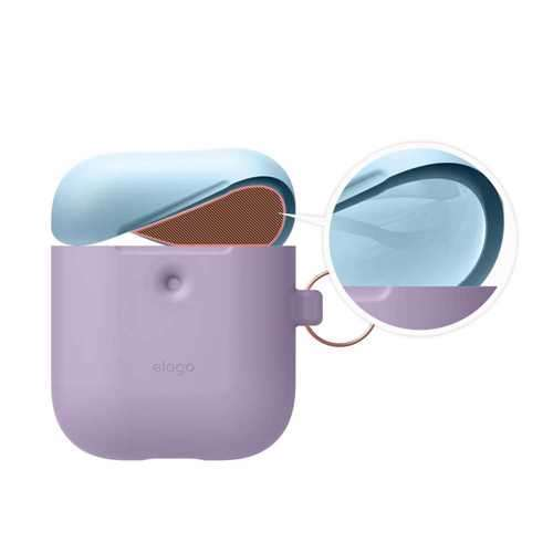 Elago Duo Hang Case for 2nd Generation Airpods - Body-Lavender / Top-Pink,Pastel Blue