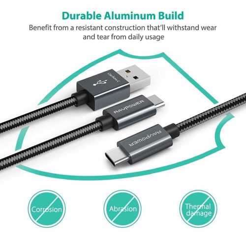RAVPower 2 in 1 Nylon Braided Type-C Cable 3.3ft - Gray