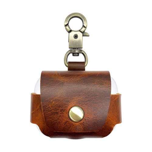 iGuard by Porodo Leather Hang Case for Airpods Pro - Brown