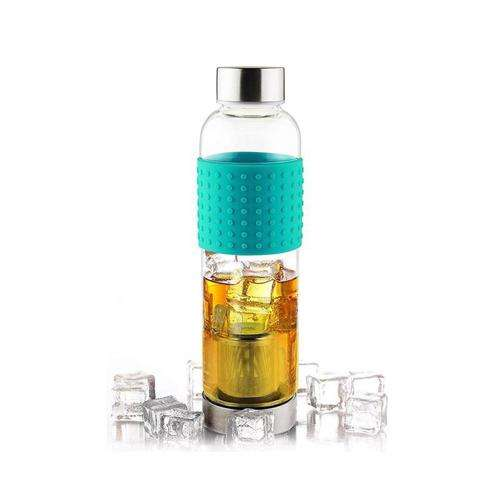 ASOBU Ice Tea and Coffee Infuser Glass Water Bottle To Go for Cold Brew 400 ml Turquoise