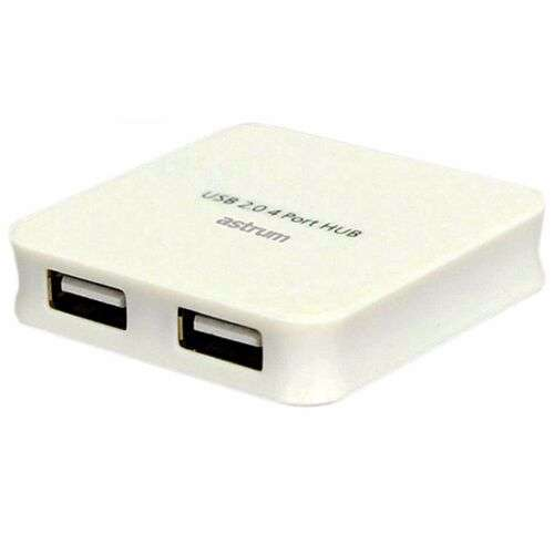 Astrum USB HUB USB 2.0 4 PORTS RUBBER COATING MATERIAL - White
