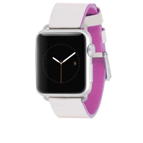 CASEMATE 38 mm Edged Genuine Leather Wrist Strap Band for Apple Watch Ivory Pink