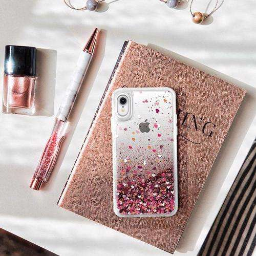 CASETIFY Glitter Case Rose Gold Confetti Hearts for iPhone XR