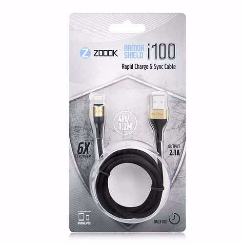 Zoook Fabric Pure Copper Cable for Charge & Sync 1m / 2A Support/ iPhone/iPad - Black with Gold Connectors