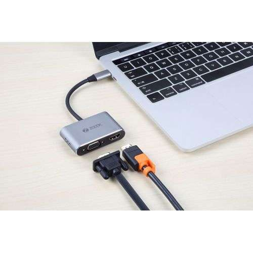 Zoook C Hub i4 Multi Point Adapter 4in1 for Type C Devices - Space Grey