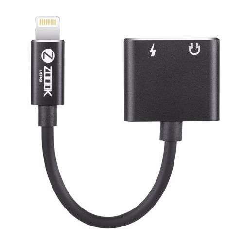 Zoook ZF L2LA BK Lightning to Dual Lightning Port Connector Dongle, Works with iPhone,iPad,iPod - Black