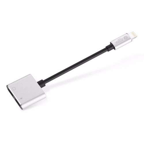 Zoook ZF L2LA SL Lightning to Dual Lightning Port Connector Dongle, Works with iPhone,iPad,iPod - Silver